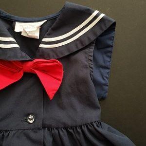Girls Blue Vintage Style Sailor Dress